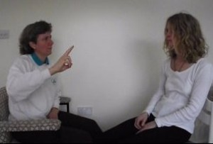 Finger movements used in EMDR, Eye Movement Desensitisationa and Reprocessing.