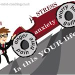 stress full life. Man pushing car up hill