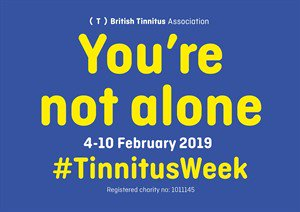 tinnitus week, You're not alone , yellow text on blue background
