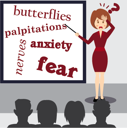 person anxious about speaking in public pointing to a white board with butterflies, palpitations, anxiety, nerves and fear written on it.