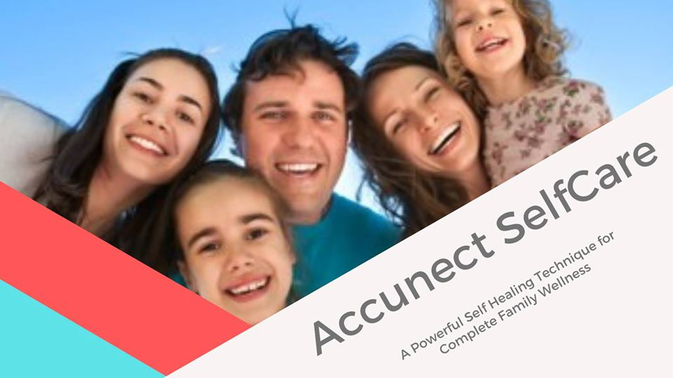 smiling family with Accunect self-care written across the bottom right hand corner
