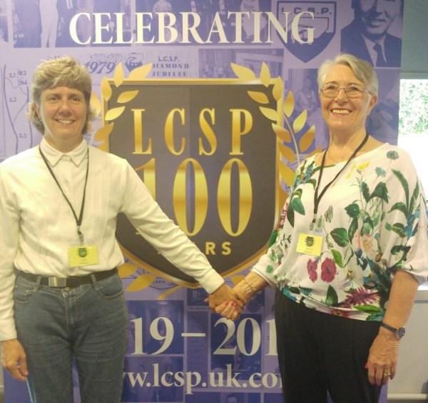 Julie Nicholls with teacher Beryl Harper at LCSP Centenary conference
