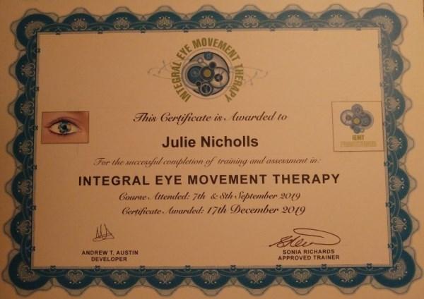 IEMT certificate awarded to Julie Nicholls